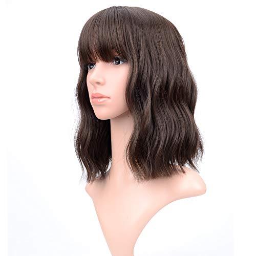 Top 10 Vckovcko Short Bob Wigs Natural Black Wavy Wig With Air Bangs of 2021
