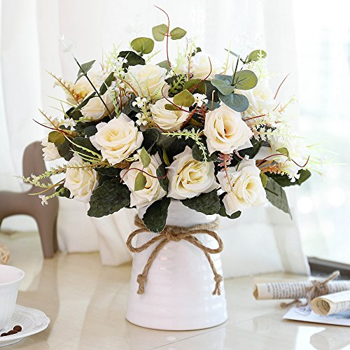 Top 10 Yiliyajia Artificial Rose Bouquets With Ceramic Vase of 2021
