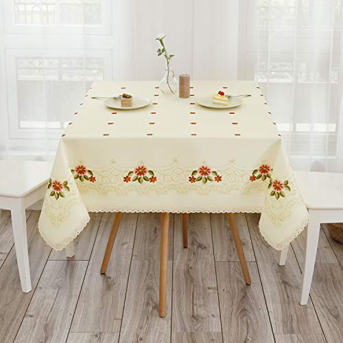 Top 10 Wewoch Decorative Red Floral Print Lace Water Resistant Tablecloth of 2021